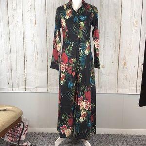 Black floral dress with slit